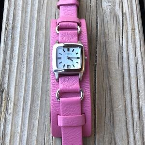Fossil Wide Pink Leather Two for One Watch!